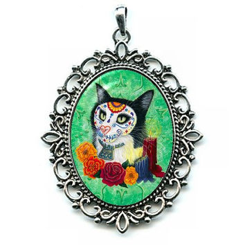 Day of the Dead Cat Candles Necklace Gothic Mexican Sugar Skull Cat Art Cameo Pendant 40x30mm Gift for Cat Lovers Jewelry