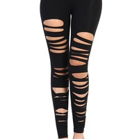 Ripped Cut out Leggings - Black