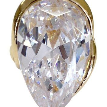 Large Teardrop Gold Tone Cocktail Ring with Clear CZ Center Stone