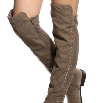 Taupe Faux Suede Stud Accent Knee High Boots @ Cicihot Boots Catalog:women's winter boots,leather thigh high boots,black platform knee high boots,over the knee boots,Go Go boots,cowgirl boots,gladiator boots,womens dress boots,skirt boots.