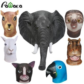 Latex Full Face Trump Cosplay Masks Elephant Squirrel Parrot Alpaca Hippo Animal Head Mask Masquerade Masks For Party Halloween