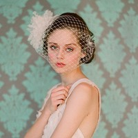 French bandeau veil with silk organza flower bomb by myrakim