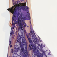 Embroidered Flared Tulle Gown | Moda Operandi