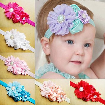 Baby Girl Hair Bow Headband DIY Bow Flower Elastic Hair Bands for Newborn Infant Toddler Hair Accessories
