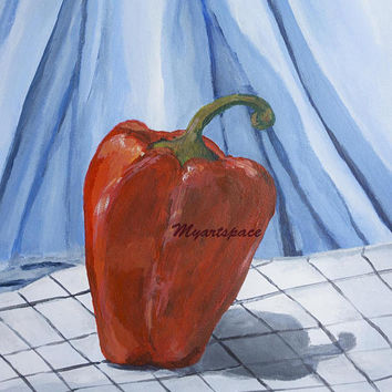 Red bell pepper painting, vegetable still life, red Kitchen decor, original painting, gift for mom, red pepper minimalist Mothers day, blue