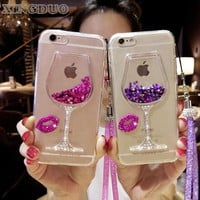 XINGDUO for samsung galaxy j5 Rhinestone Wine Glass Phone Case with Hang Rope For Samsung galaxy 2016 2017 A3 A5 A7 J3 J5 J7
