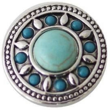 "Chunk Snap Charm Turquoise Center with Border 20 mm 3/4"" Diameter"