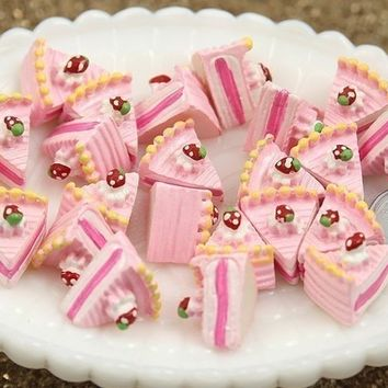 20mm Pink Cake Slices Resin Cabochons or Pendants - 6 pc set