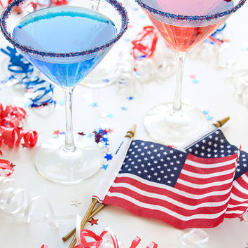 Cocktail rim sugar - red white blue - patriotic bar supplies to enhance your drink glass rim
