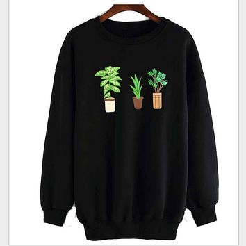 Trees potted with round neck long sleeves plus cashmere sweater