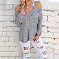 Women's Long Sleeve Cold Shoulder Sweater