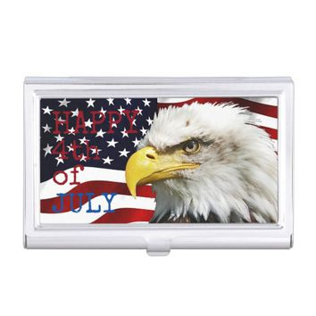 Modern 4th of July US USA Flag American Eagle Case For Business Cards