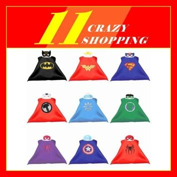 Gold Hands Kids Superhero capes with mask for Children's birthday party cosplay Super hero capes Halloween Cosplay Costumes