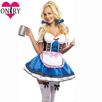 Adult Cosplay Dress Plus Size Halloween Costumes For Women Sexy Oktoberfest Beer Girl Costume German Bavarian Beer Maid Outfits