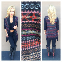 Black Chain Knit Cardigan