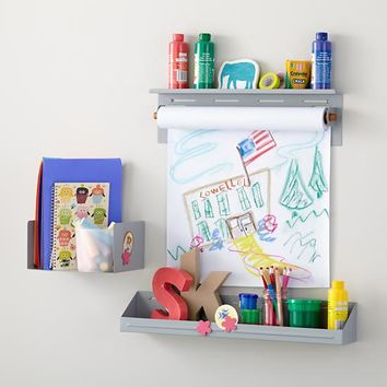 Up Against the Wall Shelf, Bin and Paper Holder (Grey)