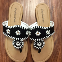 Jack Inspired Sandal - Black/White