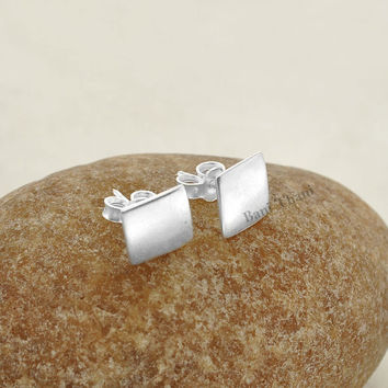 Silver Stud Earring, Stud Earring, Handcrafted Square 9mm Stud 925 Sterling Silver Earring Jewelry - #1681