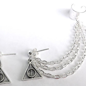 Silver 3 tier Deathly Hallows and lightning bolt cartilage ear cuff earrings (pair)