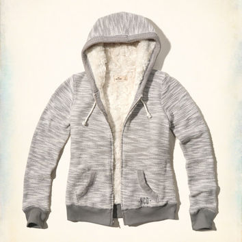 Textured Faux Fur Lined Hoodie