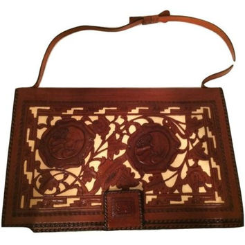 Large Clutch Etched Carved Leather Ethnic Handmade Vintage Bohemian Incredible
