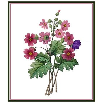 Chinese Primrose Flowers Inspired by Pierre-Joseph Redoute Counted Cross Stitch Pattern