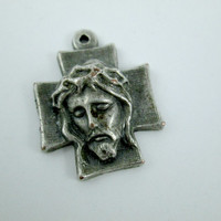 High Relief Vintage Jesus Christ Religious Medal Sterling Silver Religious Jewelry Pendant Made In Italy Lovely Design Mild Patina