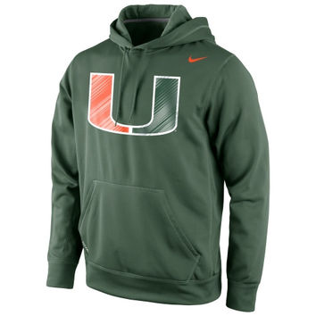 Miami Hurricanes Nike Warp Logo Therma-FIT Hoodie - Green