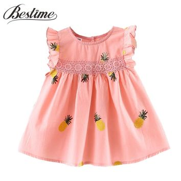 Baby Girls Clothes Long Sleeve Baby Dress Pineapple Infant Dress Toddler Cotton Lace Ruffles Kids Dresses for Girls