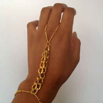 Gold Chain Slave Bracelet by WorldofTashii on Etsy