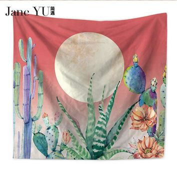 JaneYU Wall Hanging Cactus Tapestry Cotton Bohemian Cover Beach Towel Throw Blanket Picnic Yoga Mat Home Decoration