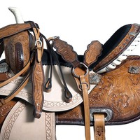 WESTERN BARREL RACING PLEASURE TRAIL SADDLE LEATHER MATCHING HORSE TACK SET 15