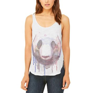 Watercolor Dripping Paint Panda Juniors Flowy Side Slit Tank Top