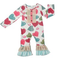 CONICE NINI Hot Love Baby Infant Spring Long Sleeve Cotton Baby Girl Splice Rompers Toddler Clothes Girl Boutique Clothes R038