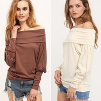 Plus Size Women's Fashion Autumn Long Sleeve Off the Shoulder Shirts [9150488391]