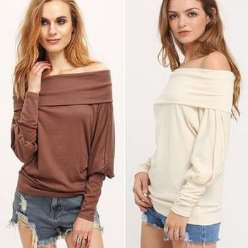 Plus Size Women's Fashion Autumn Long Sleeve Off the Shoulder Shirts [9068278852]