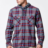 Quiksilver Rockyfist Plaid Long Sleeve Button Up Shirt - Mens Shirts - Red