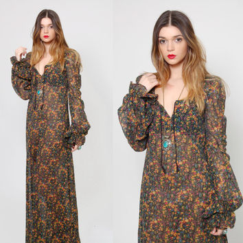Vintage 70s Betsey Johnson ALLEY CAT Maxi Dress 1970s Betsey JOHNSON Sheer Black Ditzy Floral Maxi Dress Puff Sleeve Boho Dress