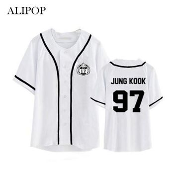 Kpop BTS Bangtan Boys Album Cardigan Shirts Clothes Loose Tshirt T Shirt Short Sleeve Tops T-shirt