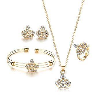 Geometric Metal Goldplated Jewelry Sets Accessories Charm Princess Crystal Crown Necklace Earring Ring Bracelet Bangle Set