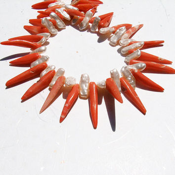 Coral tribal necklace White pearl Coral spikes by ShopPretties