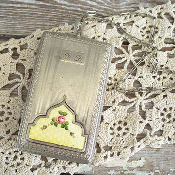 antique compact dance purse guilloche enamel by KatyBitsandPieces
