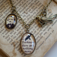 Edgar Allan Poe Necklace - The Raven Quote - Poe Jewelry in Brass