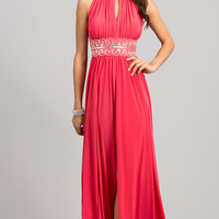Long Sleeveless Dress with Rhinestone Embellished Waist