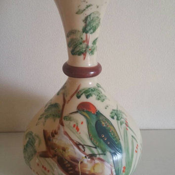 Antique Bristol Glass vase/ handpainted kingfisher/vintage Clambroth glass /victorian enamelled glassware /ships worldwide from UK