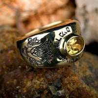 Men's Kabbalah Rings - Lotus ring gold Lapis