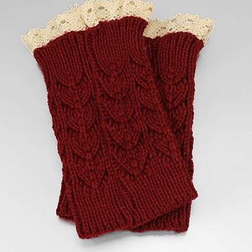 Wavy Pattern Crochet Knit w/Lace Boot Cuffs