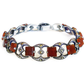Art Deco Bracelet, Sterling Silver, Carnelian Stone, Marcasite, Slim Geometric, Antique Jewelry
