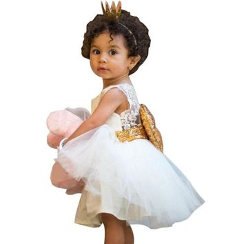 Cute Kids Baby Girl Clothes Princess Dress Sequins Bowknot Dress Sleeveless Kids Party Dresses for Girls Sundress Clothes 3Color