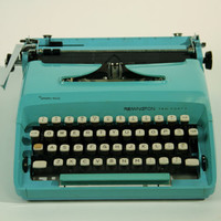 Vintage Typewriter Teal Turquoise Blue by RestorationHarbor